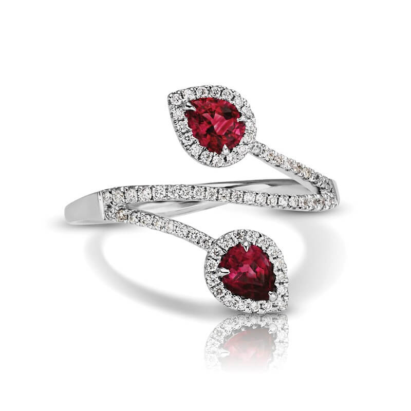 Ruby Diamond Two Stone Bypass Ring