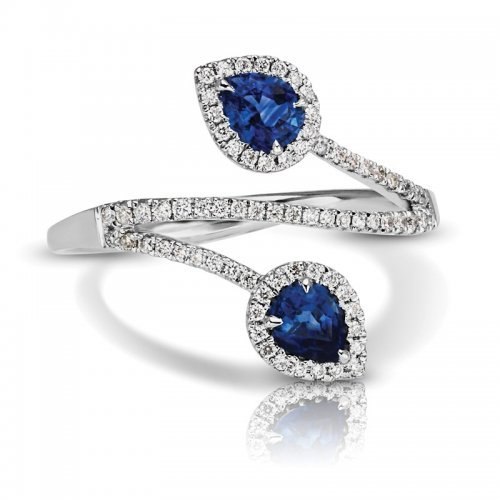 Sapphire Diamond Two Stone Cocktail Ring