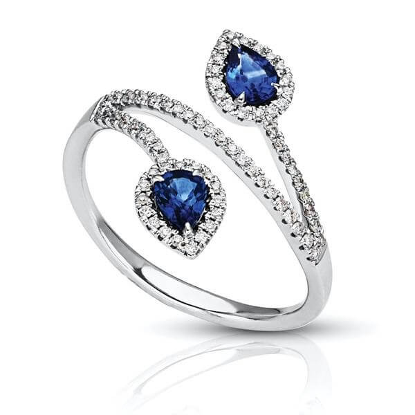 Pear Shaped Sapphire Diamond Two Stone Cocktail Ring
