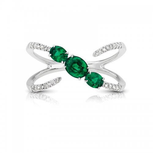 Three Stone Emerald Diamond Fashion Ring