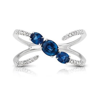 Sapphire Diamond Three Stone Fashion Ring