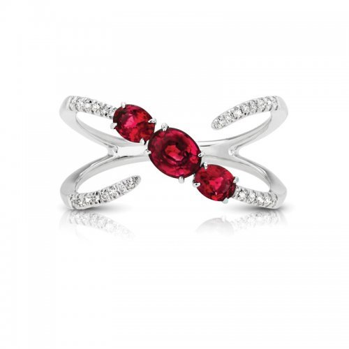 Three Stone Ruby Diamond Fashion Ring