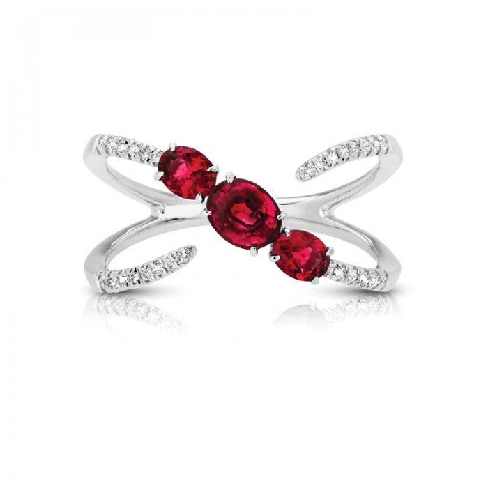 Three Stone Ruby Diamond Fashion Ring