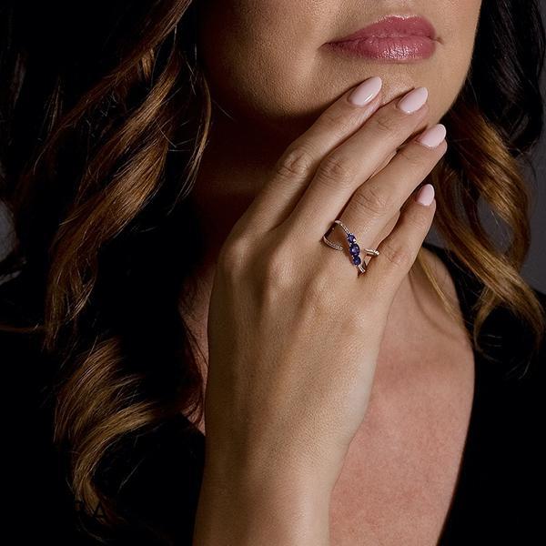 Three Stone Sapphire Diamond Fashion Ring