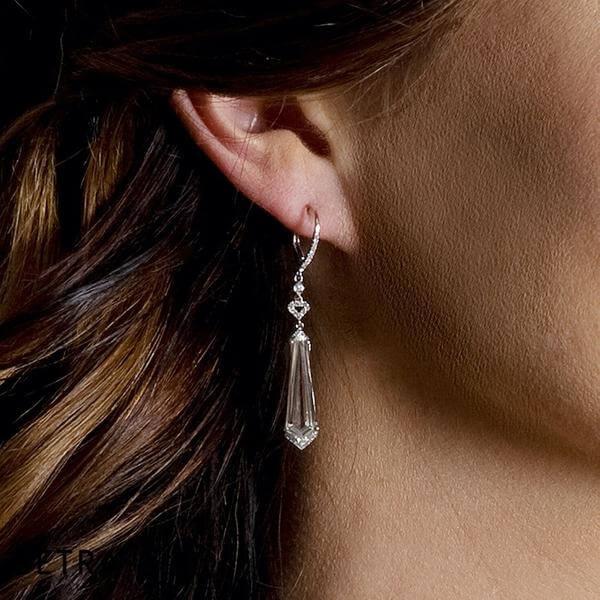 Topaz Diamond Chandelier Earrings