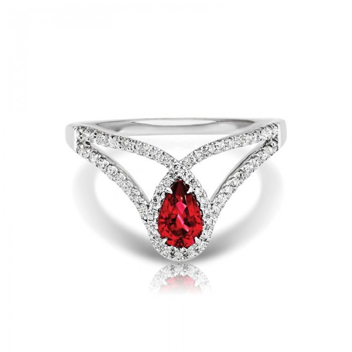 Vintage Pear Ruby Diamond Ring