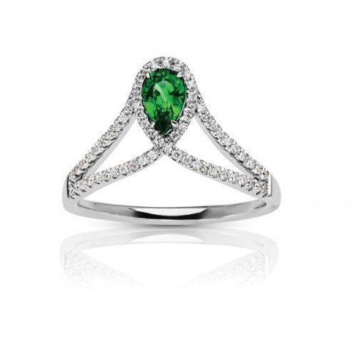 Vintage Pear Shaped Emerald Diamond Ring