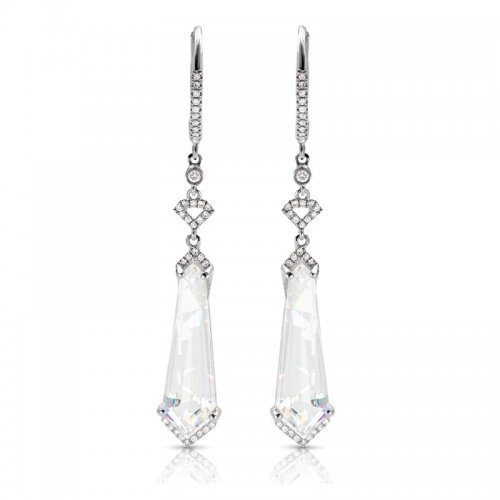 White Topaz Diamond Chandelier Earrings