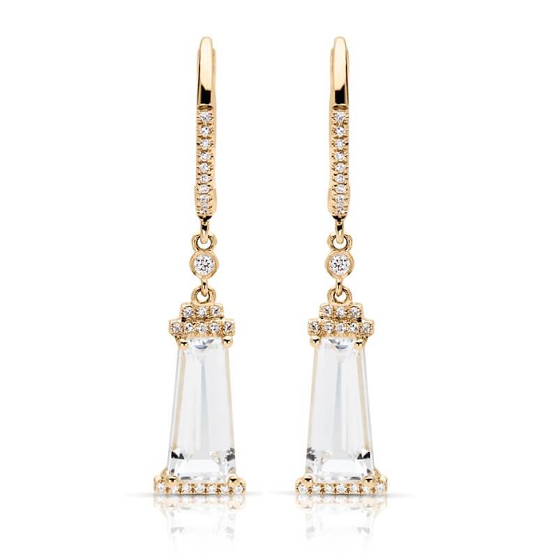 White Topaz Diamond Fashion Earrings
