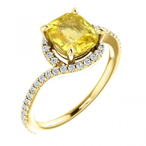 Cushion Cut Yellow Sapphire Diamond Engagement