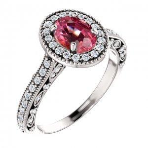 Oval Cut Padparadscha Sapphire Diamond Engagement