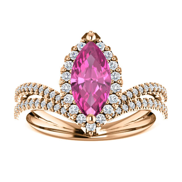 V Ring Pink Sapphire Diamond Accent Engagement
