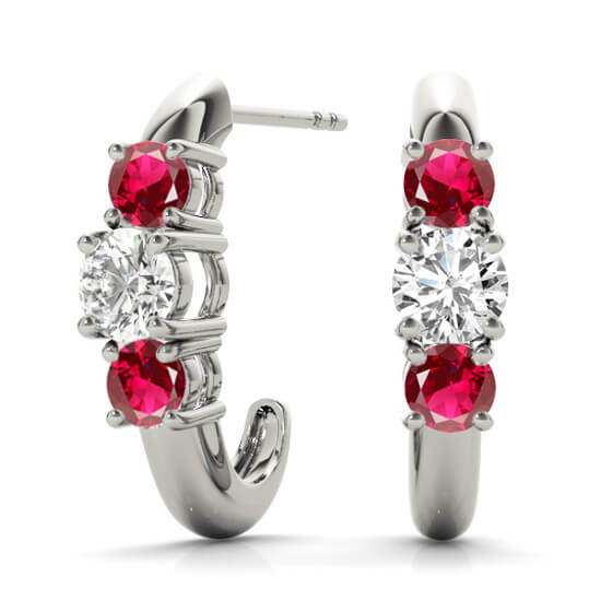 Ruby Diamond Half Hoops