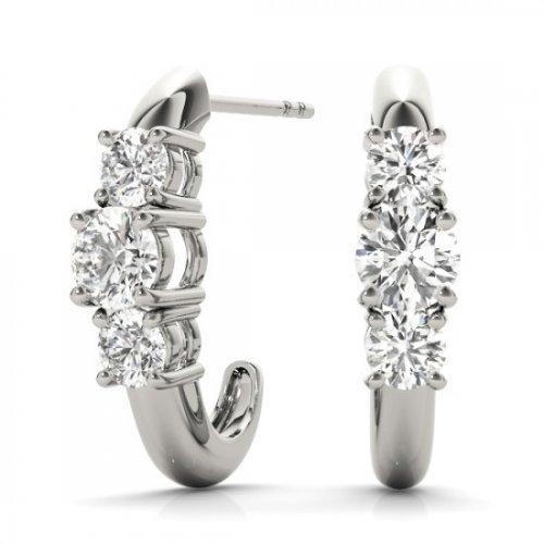3 Stone Diamond Half Hoops