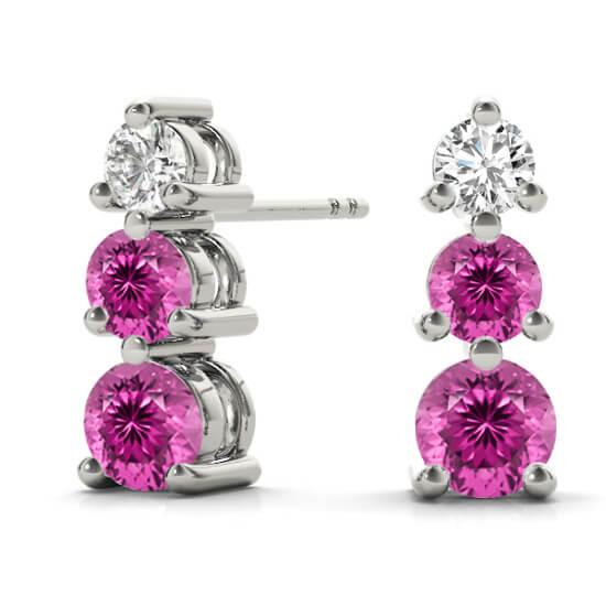 3 Stone Graduated Diamond Pink Sapphire Drop Earrings