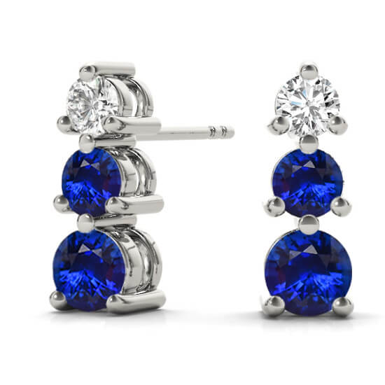 3 Stone Graduated Diamond Sapphire Drop Earrings