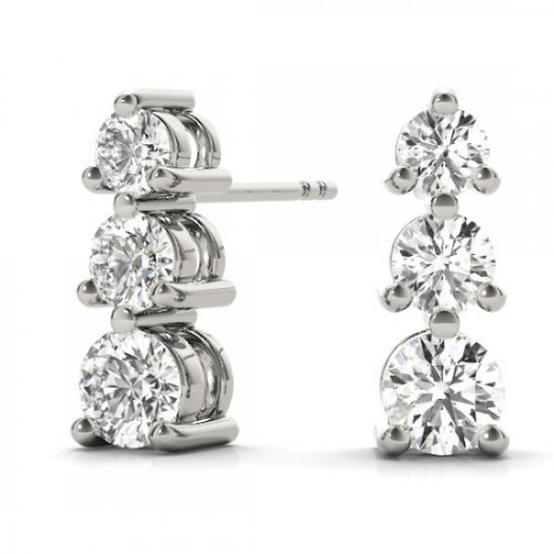 3 Stone Graduated Diamond Drop Earrings