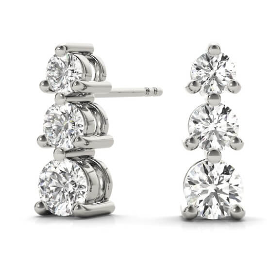3 Stone Graduated Diamond Drop Earrings