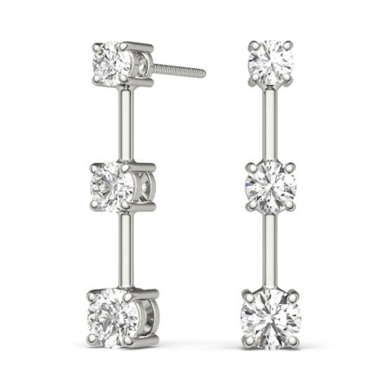 Three Stone Diamond Drop Earrings