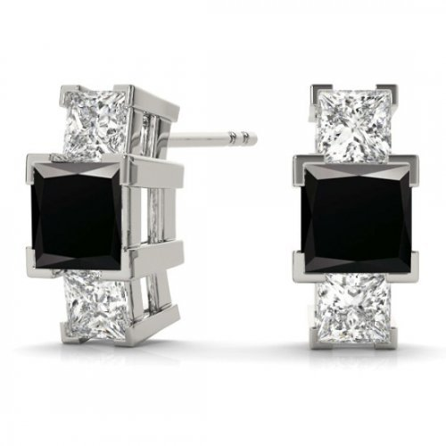 3 Stone Princess Diamond Studs