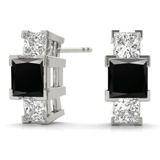 3 Stone Princess Diamond Studs