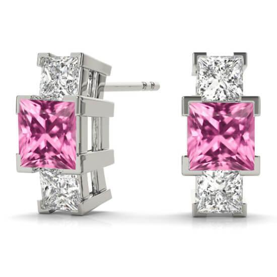 3 Stone Princess Diamond Pink Sapphire Studs
