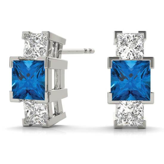 3 Stone Princess Diamond Sapphire Studs