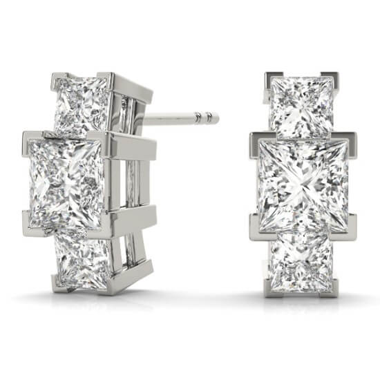 3 Stone Diamond Half Hoop Earrings