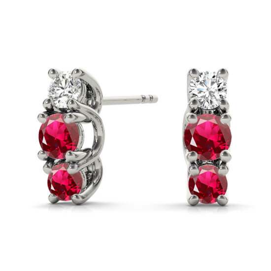 Ruby Diamond Studs