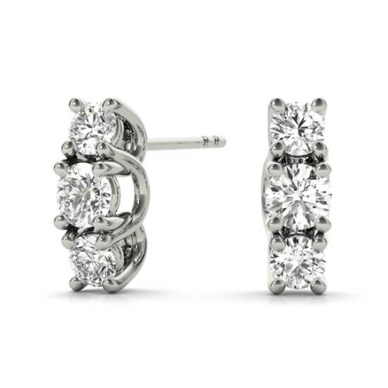 3-Stone Mini Round Diamond Studs