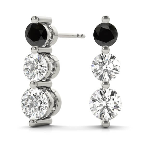 3 Stone Diamond Drop Black Diamond Earrings