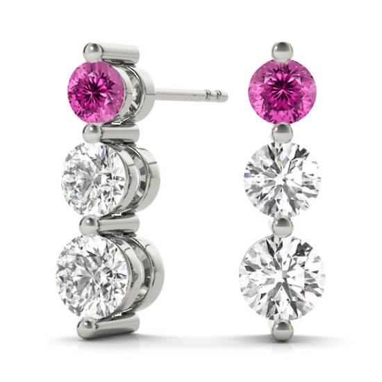 3 Stone Diamond Drop Pink Sapphire Earrings