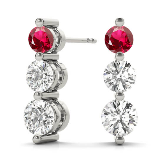 3 Stone Diamond Drop Ruby Earrings