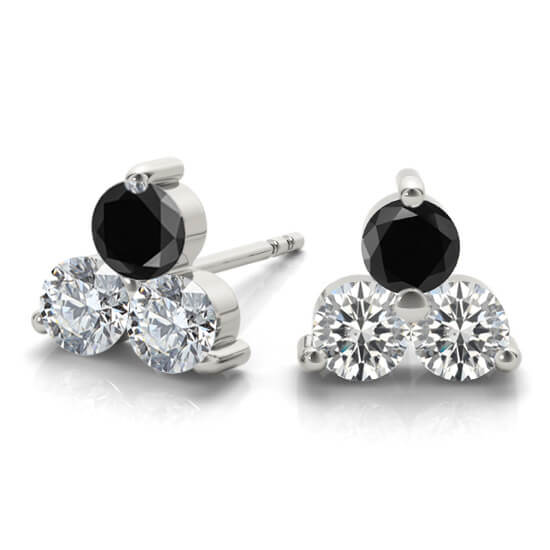 3 Stone Black Diamond Earrings