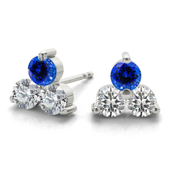 3-Stone Diamond Blue Sapphire Earrings