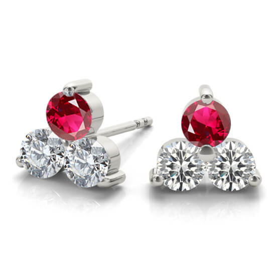 3 Stone Ruby Gemstone Earrings