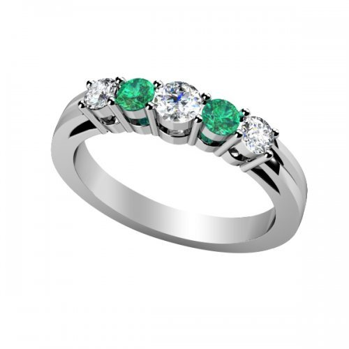 5 Stone Diamond Emerald Anniversary Ring