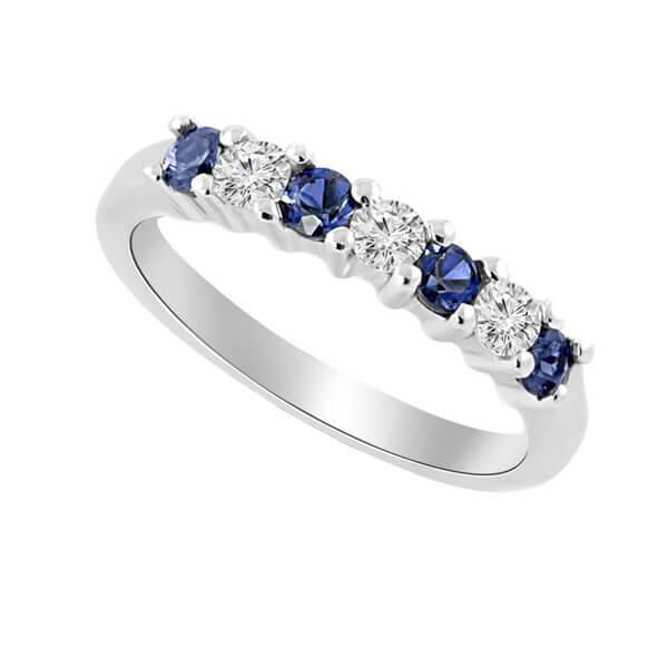 Diamond Blue Sapphire Anniversary Ring