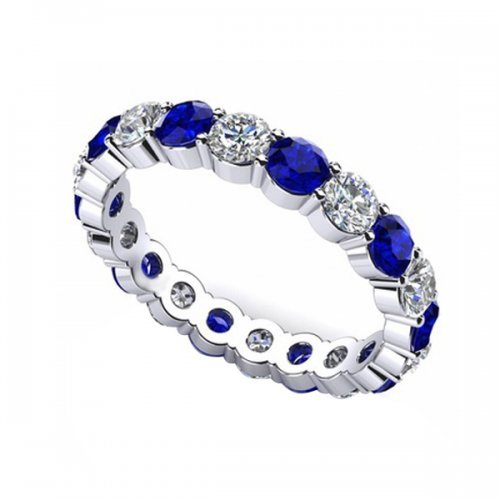 Blue Sapphire Diamond Eternity Ring