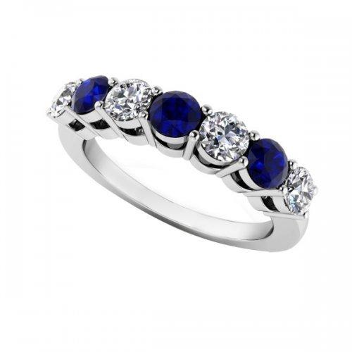 7 Stone Diamond Sapphire Anniversary Ring