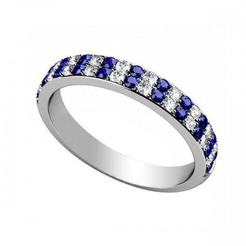 Double Row Sapphire Diamond Wedding Band