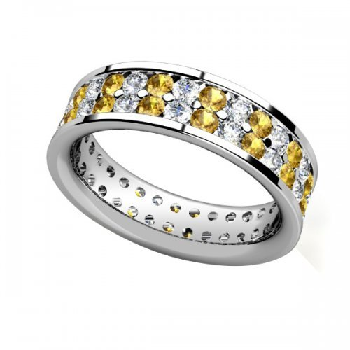 Double Row Yellow Sapphire Diamond Wedding Ring