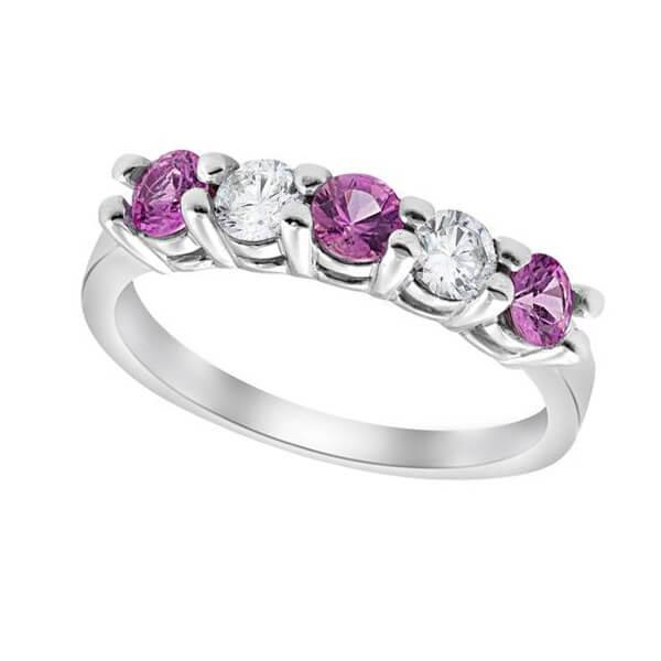 Pink Sapphire Diamond Anniversary Wedding Ring