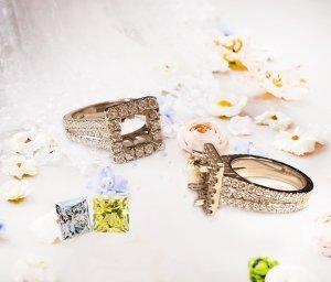 Princess Cut Diamond Square Halo Three Row Pave Engagement Ring