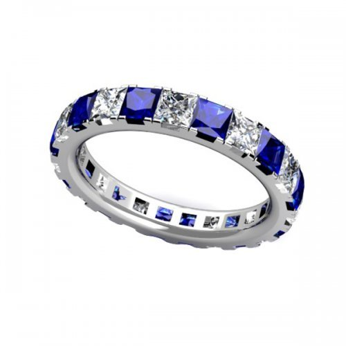Princess Cut Diamond Blue Sapphire Eternity Ring