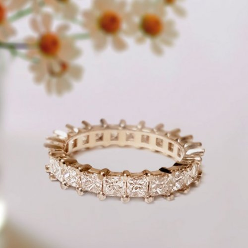Princess Cut Diamond in Shared Prong Eternity Wedding Ring