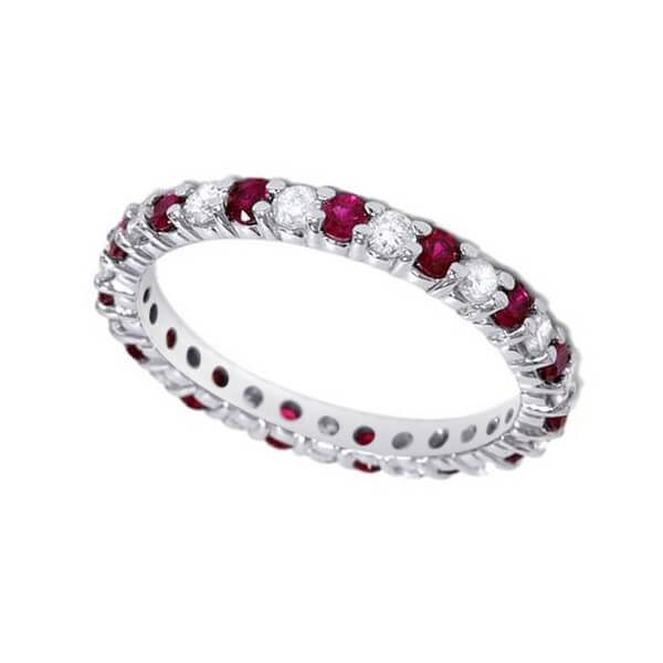 Ruby Diamond Eternity Wedding Ring