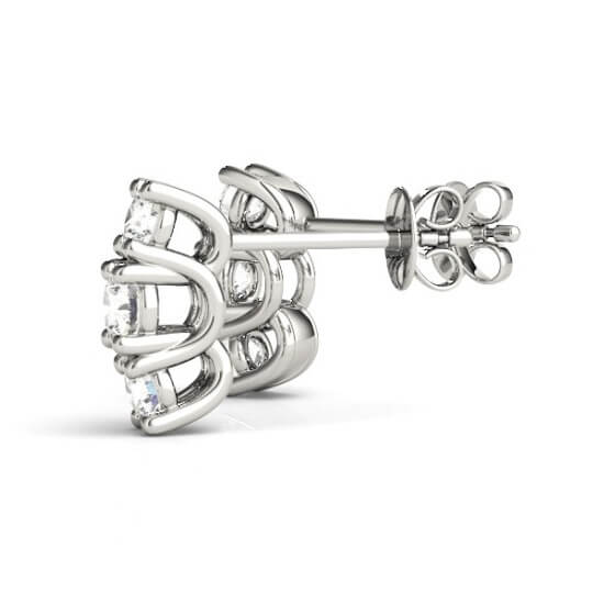 Triple Stone Diamond Stud Earrings