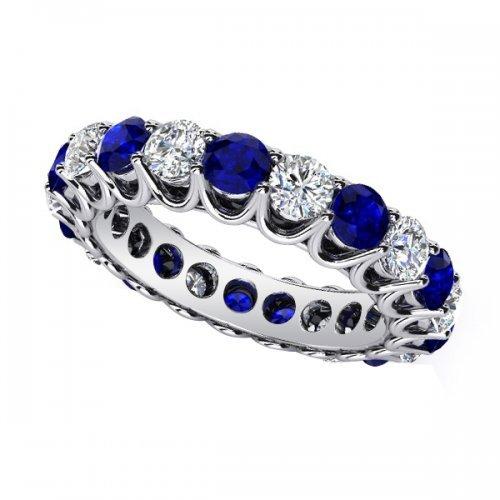 U Prong Diamond Blue Sapphire Anniversary Ring