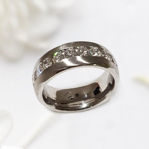 Round Diamond Channel Set Wedding Ring